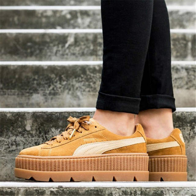 best service 07ec5 ad6e9 US $145.5 31% OFF|Puma X Fenty Cleated Creeper Women's Hard Wearing  Skateboarding Shoes Sports Sneakers Falt Classics Heightening Shoes  366268-in ...