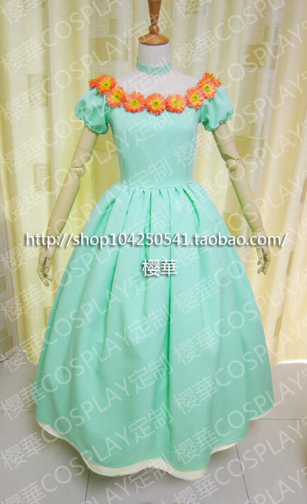 Card Captor Sakura Heroine KINOMOTO SAKURA Anime Custom Made Light Green Dress Cosplay Costume Illustration Picture Version