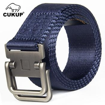 CUKUP Name Unisex Design Double Ring Buckles Metal Belts Quality Outdoor Striped Line Nylon Accessories 3.8cm Wide Belt CBCK108 striped line doormat