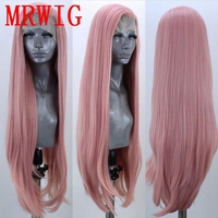 MRWIG Free Part 26in Dark Pink Long Straight Heat Resistant Fiber Glueless Wigs For Women Synthetic Lace Front Wig