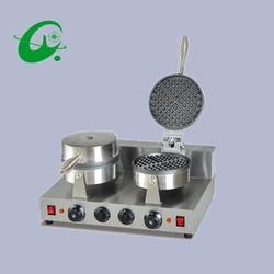 Double head Cone Baker cream leather machine Ice Cream Paper Maker machine waffle maker