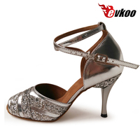 Evkoodance Brand Silver Latin Dance Shoes For Ladies 3 Colors Can Be Choose 8.5 cm High Heel Evkoo 382