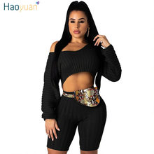 HAOYUAN Ribbed Two Piece Knit Set Sexy Club Festival Clothing Crop Top and Biker Shorts Sweat Suits 2 Piece Outfits for Women(China)