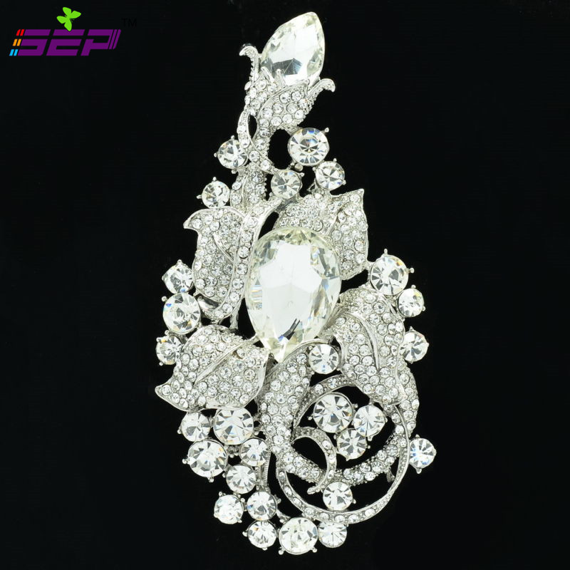 Rhinestone Crystal Big Flower Brooches Broach Pin Women Jewelry Accessories Birthday Gift 6406