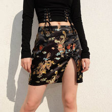Chinese ethnic Embroidery Style Print Skirt Sexy Split High Waist A-line  Skirt Vintage Sexy Mini Skirts For Women 0756f129eccb