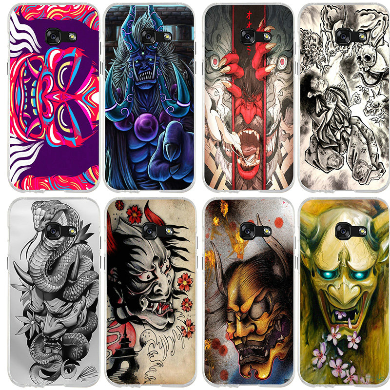 Peintures de démons japonais pour Coque Samsung Galaxy J3 J4 J5 J6 J7 J8 A3 A5 A7 2016 2017 2018 Coque souple en Silicone TPU