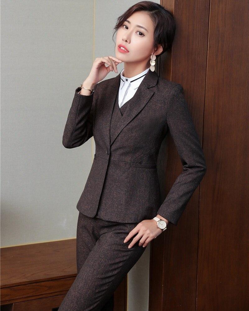 Vestes Tissu Pantalon Femmes Styles Costumes Élégant Uniforme black Brown Qualité Blazers Grey blackish Costume Et Pantalons Haute Dames Brun D'affaires Pantsuits Avec 5qxwzpa