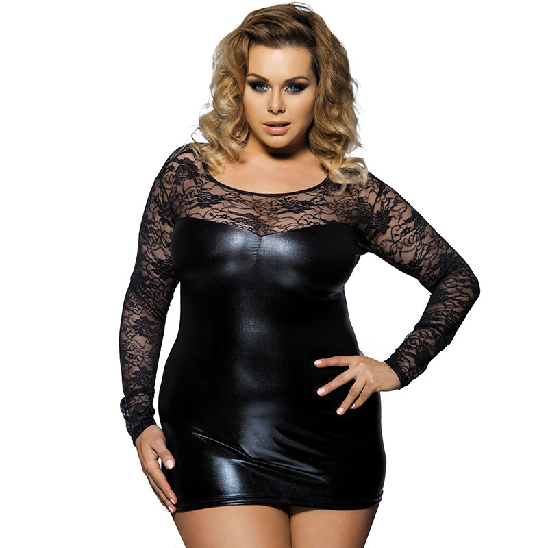 R7393 Hot Sexy Women Lingerie Lace Faux Leather Dress Ropa Sexy Mujer Erotica O-Neck Long Sleeve Translucent Plus Size Lingerie plus size women in leather