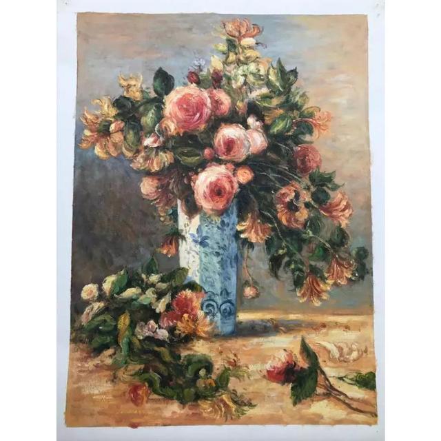Modern Flower Art Pierre Auguste Renoir Paintings Flowers In Vase On