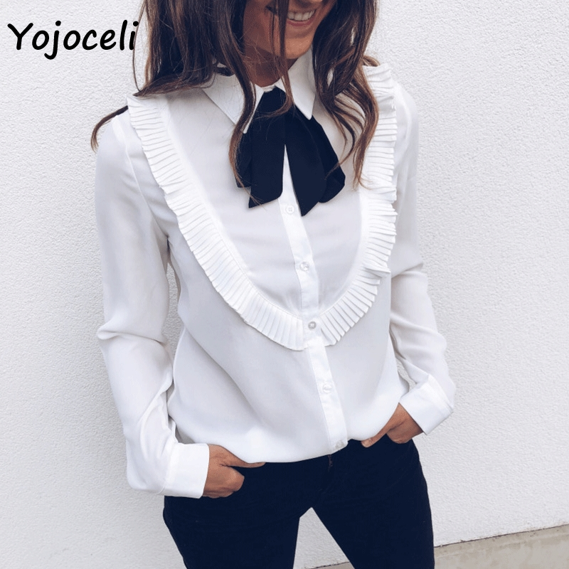 Yojoceli women fashion ruffle white   blouses     shirt   black bow chiffon   blouses   streetwear long sleeve casual   shirt   blusas female