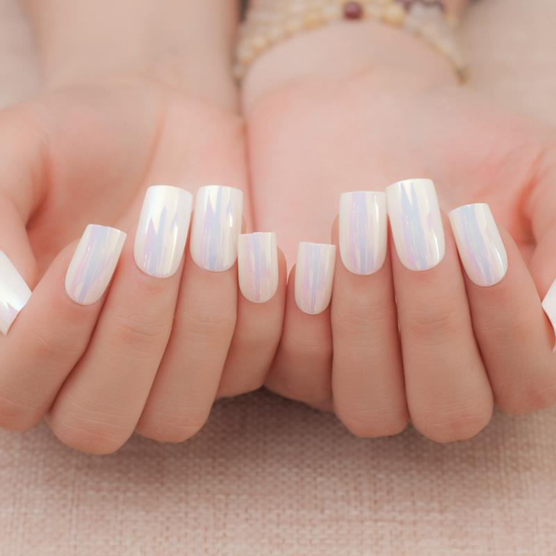 24pcs Fashion Style Symphony Shiny Chameleon White Shell Metal White Color Bent Lady Artificial False Nails Tips Z133