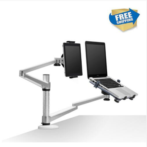 free shipping Full Motion Dual Arm 10-15 inch Laptop Holder + 7-10 inch Tablet PC Stand Rotate Holder Desktop Stand OA-9X oa 7x lazy tablet laptop stand adjustable height rotatable holder for notebook within 10 15 inch and tablet pc 7 10 inch