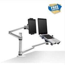 Frete grátis Completa de Movimento Dual Arm 10-15 polegada Laptop Titular + 7-10 polegada Tablet PC Fique Rotate Stand Titular Desktop OA-9X