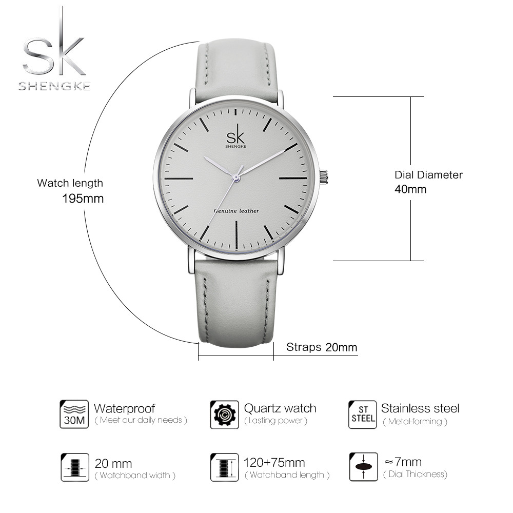 New Shengke 40mm Dial Lady Quartz Watch Green Genuine Leather Casual Stylish Women Watches Gift Box relogio femininoStreet