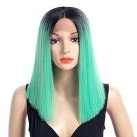 Aigemei Ombre Цвет прямые Синтетические волосы на кружеве парики и средняя часть 16 дюймов химическое Синтетические волосы на кружеве парик жароп