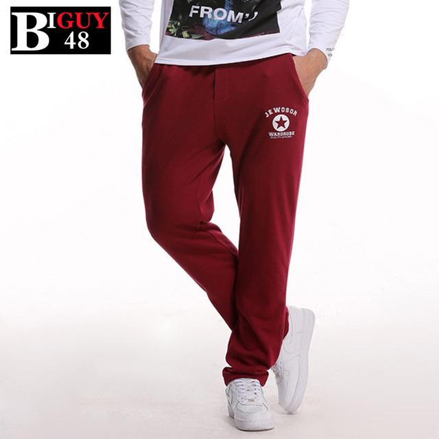 Alta Calidad 100% Hombres Pantalones Casuales de La Moda de Algodón Rojo 2016 Sprint Otoño Más Tamaño Grueso Pantalones Masculinos Rectos Flojos 395