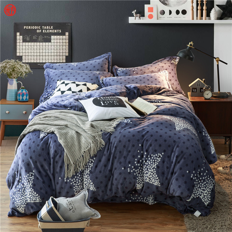 Home textile coffee flower coral velvet bedding set king queen home textile coffee flower coral velvet bedding set king queen fleece duvet cover warm soft winter bedding bed sheet linen star in bedding sets from home urtaz Image collections