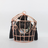 Women's Hollow Birdcage Evening Bags Clutch Metal Frame Embroidery Bucket Bird Cage Mini Bag Purse Women Gold Tassel Handbags