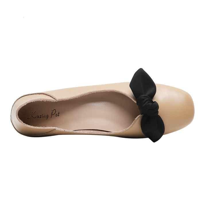 En Toe Papillon Confortable Apricot noeud Pot Ballet Femmes Gant Krazing beige noir Cuir Véritable L95 Slip Sur Chaussures Sweety Appartements 2019 Square Casual Danseur Y1E1qwxvU