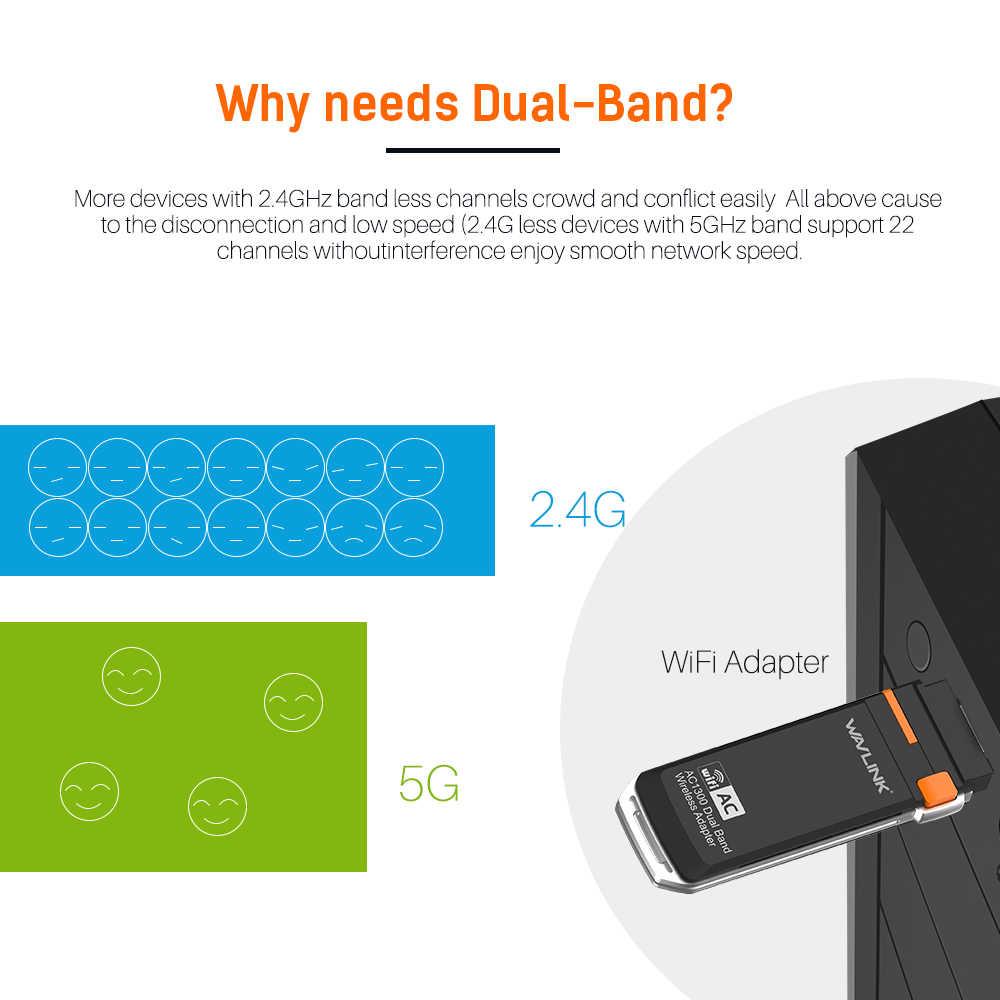 Wavlink AC1300 sans fil USB wifi adaptateur 5GHz et 2.4GHz double bande USB WiFi mini Dongle adaptateur carte réseau avec bouton WPS WDS AP