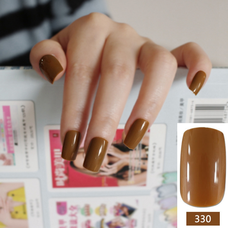 New 24pcs Set Chocolate Coffee Color False Nails Nep Nagels Fake For Nail Art Decoration Manicure Faux Ongles R27 330m In From Beauty