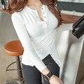 Tee Camiseta Tops Para Mujer de Moda 2016 Algodón Camisa Femenina T Shir Del O-cuello Del Color Sólido de Manga Larga T-shirt Q16345