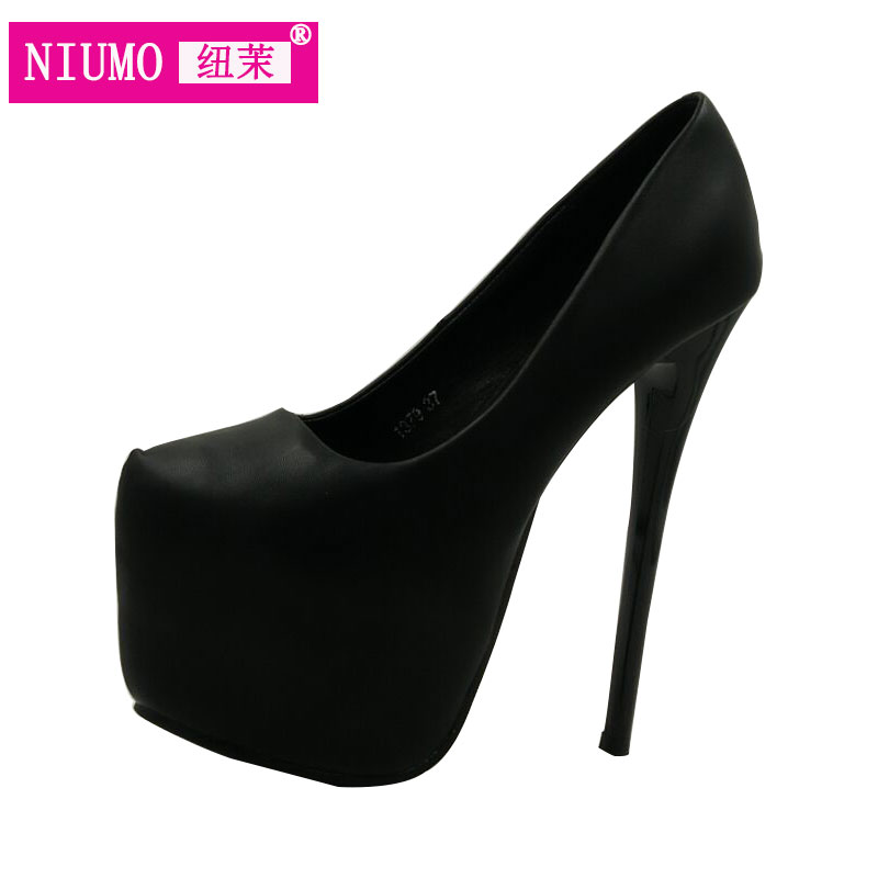 Super high heels fine with waterproof shoes Europe and America nightclub Hentian sexy black shoes princess 17cm купить