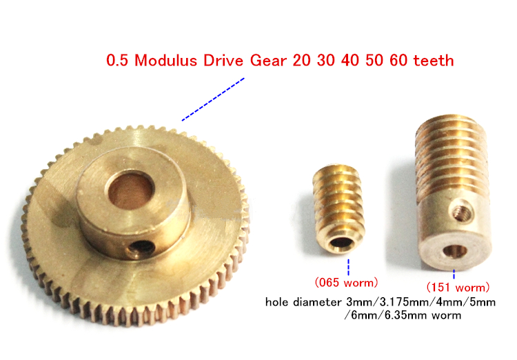 New 40 Teeth 1.5 Modulus Worm Gear 10mm Hole and Shaft for Drive Gearbox etc.