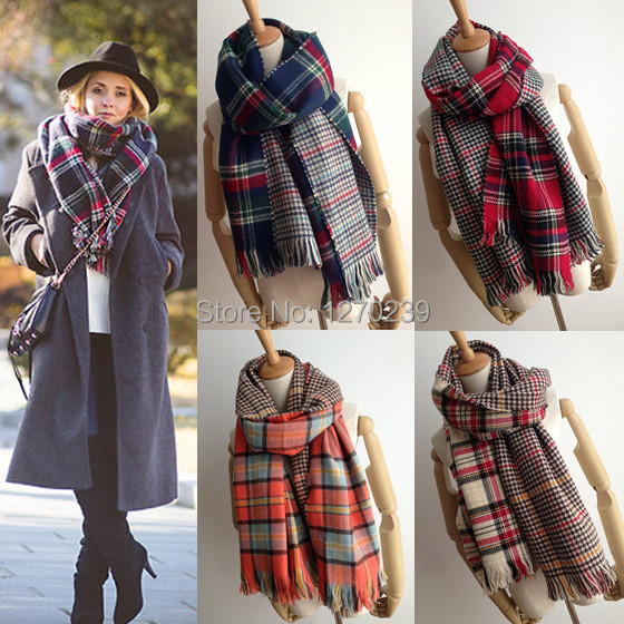 WJ20 New 2014 Winter Women font b Tartan b font Scarf Pashmina Scarves Oversized Tippet Plaid