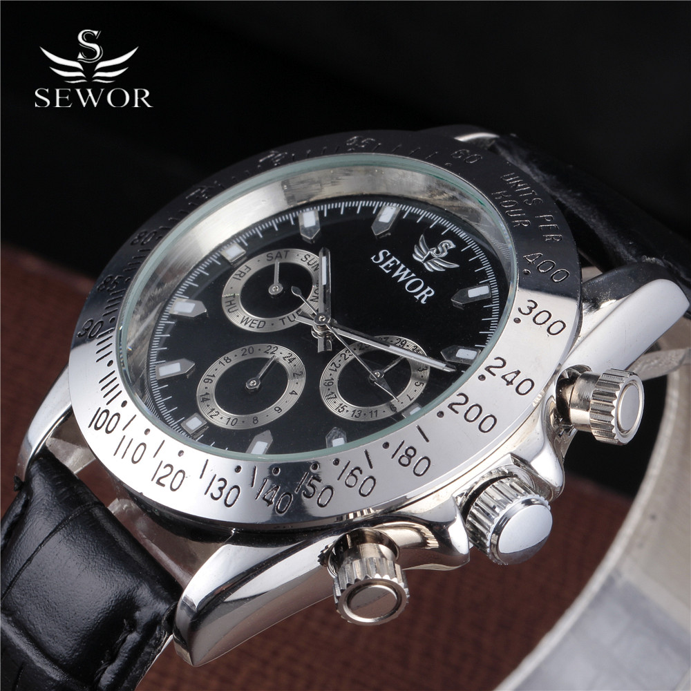 SEWOR Fashion Automatic Mechanical Watch Men Retro Auto Date Small Dial Sport Military Clock Chronograph Case Relogio Masculino 24v dc 250w electric scooter motor conversion kit my1016 250w brushed motor set for electric bike emoto skatebord bicycle kit