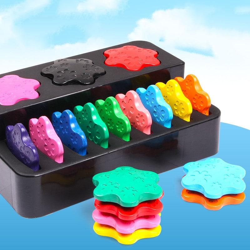 12 cores nao toxico cera criativa pintura lapis de cera forma do anel presentes das criancas
