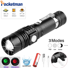 Ultra Bright Super Bright Led flashlight USB linterna led torch T6/L2/V6 Power Tips Zoomable Bicycle Light 18650 Rechargeable
