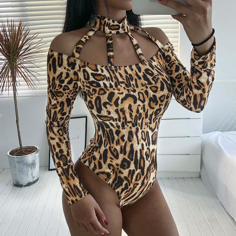 Hollow Out Leopard Bodysuits Women Spring Autumn Sexy Bodycon Halter Clubwear Long Sleeve Bodysuit Female Rompers Women Jumpsuit