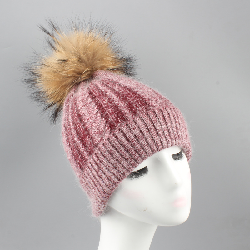 Russian Women's Wool Blend   Skullies     Beanies   Hats Raccoon Fur Pom Pom Hat Female Winter Warm Caps Fashion Headgear LF4167