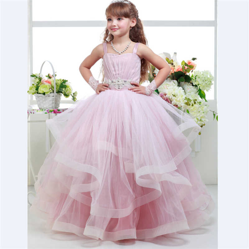 11888915d7 Holy Flower Girls Dresses Pink Color Ball Gown with Straps Ruffles ...