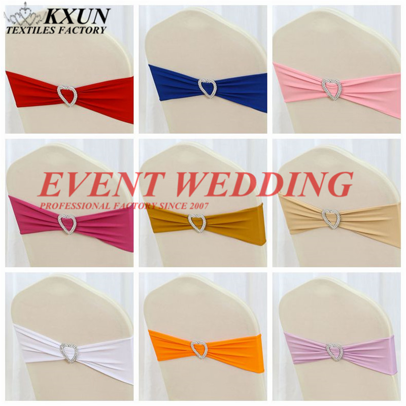25pcs Lot Heart Buckle Lycra Chair Band Spandex Chair Sash Tie Bow Fit On Chair Cover Event Party Wedding Decoration