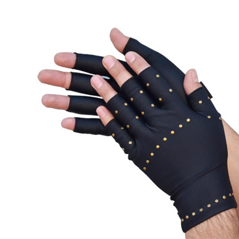 Vbiger Arthritis Compression Gloves Hand Pain Relief Gloves Half Finger Cycling Gloves for Men Women, Black