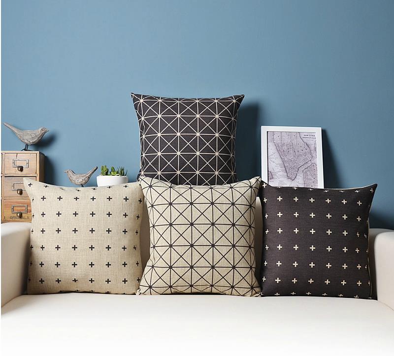 Home Textile Cushion Checkerboard Geometry Fresh Stars Cushion Linen Cotton Pillow Cushion For Home Decor Sofa Cushions 45x45cm