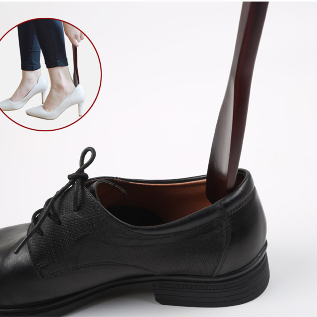 Women Mens Wooden Shoehorn Long Shoe Horn with Loop Convenient for Hanging Shaped To Fit Your Heel
