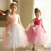 Kids Girls Princess Dress Rainbow Sashes Dresses Back Naked Birthday Tulle Children Wedding Party Frocks Formal Baby Ball Gown