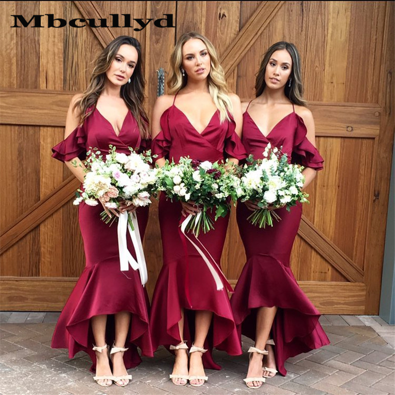 Mbcullyd New Sexy Off Shoulder   Bridesmaid     Dresses   2020 Hi-Low Beach Long   Dress   Formal Wedding Party For Women vestido madrinha