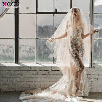 5cbc00d95 2018 elegante velo de novia 3 metros de largo suave velos nupciales con  peine una capa Champagne Color blanco novia boda Accesorios