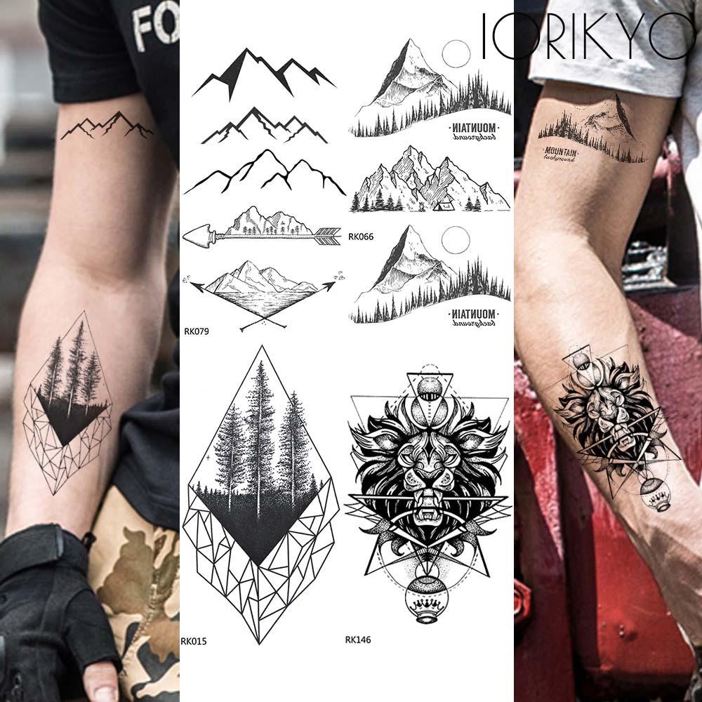 Arrow Dale Temporary Tattoo Men Arm Geometric Mountain Black Tattoo Stickers Women Body Hands Waterproof Tatoos Pine Tree Makeup