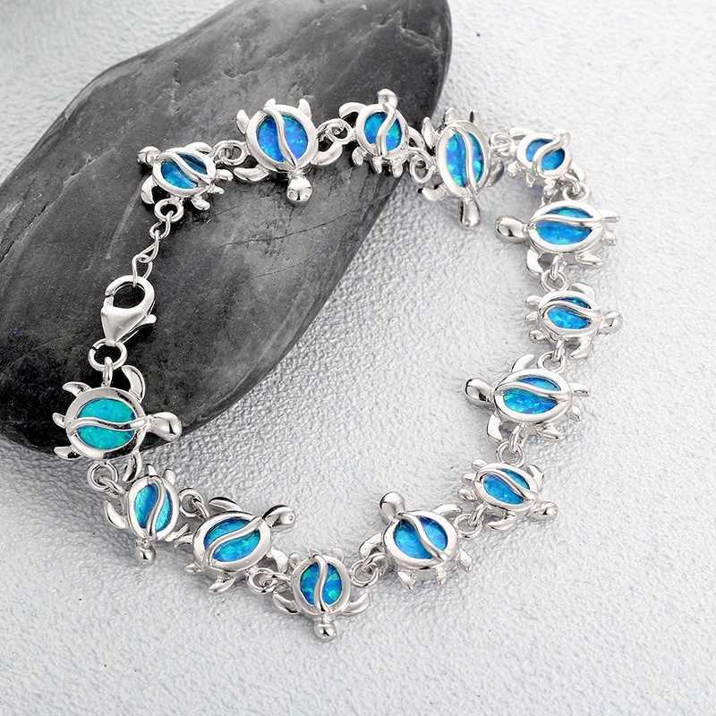 Женские браслеты из серебра 925 пробы с опалом, браслет из серебра 925 пробы с милыми черепашками, модные ювелирные украшения, оптовая продажа