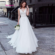 LEIYINXIANG New Arrival Sleeveless Wedding Dress Beach Bridal Gown Tulle Lace Appliques Dresses White/Lvory Romantic