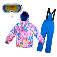 Children's Ski Suit Ski Jacket With Overalls 2pcs Waterproof Thick Outdoor Clothes Set Warm Suits For Winter free glasses