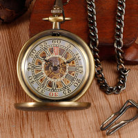 Vintage Bronze Mechanical Pocket Watch Roman Number Hand Wind Watches Board Plank Pattern Antique Style Wind