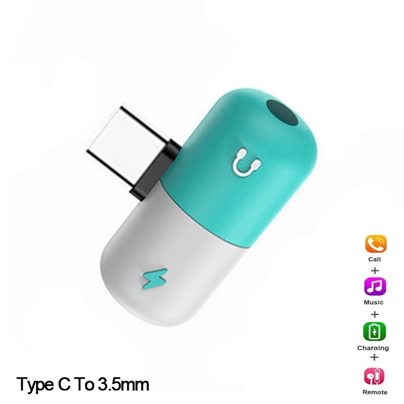 Адаптер конвертера с разъемом для наушников с разъемом типа C на 3,5 мм, адаптер конвертера OTG для Xiaomi Samsung Huawei P20pro USB C, быстрая зарядка