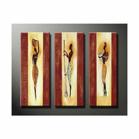 hand Painted modern abstract art African Woman lady oil painting decorative canvas 3 panels home Living Room Office decoration
