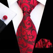 3 шт./компл. 8 см строгие галстуки Набор для мужчин Свадебная вечеринка красный галстук с ярким узором наборы с носовой платок запонки